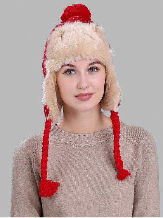 Weihnachtsschneeflocke-Muster verdicken Wintermütze - Rot
