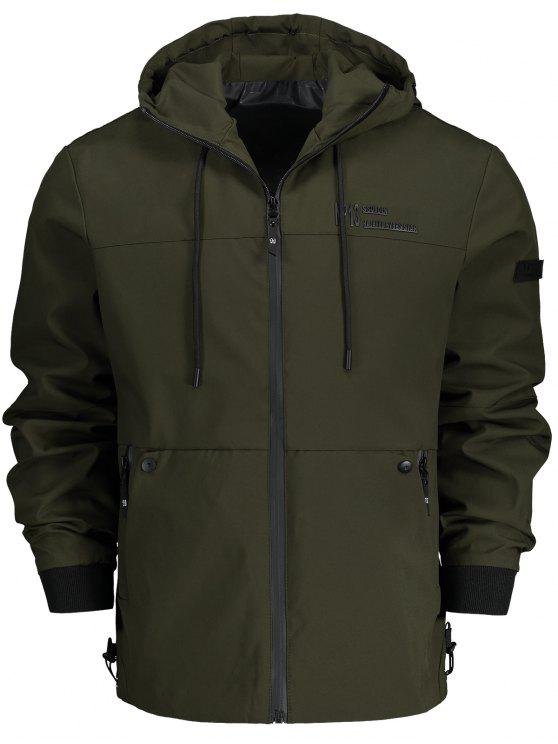 affordable Hooded Zip Up Jacket - ARMY GREEN XL