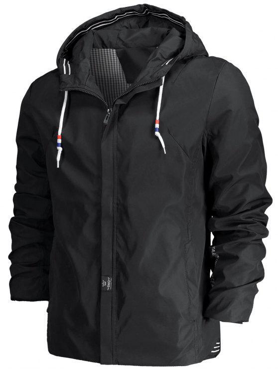 outfits Drawstring Hood Zippered Jacket - BLACK XL
