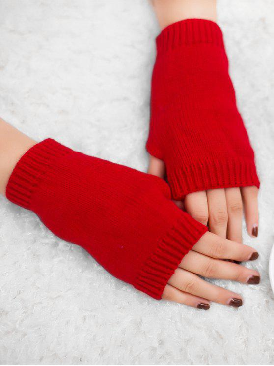 fashion Winter Crochet Fingerless Gloves - BRIGHT RED