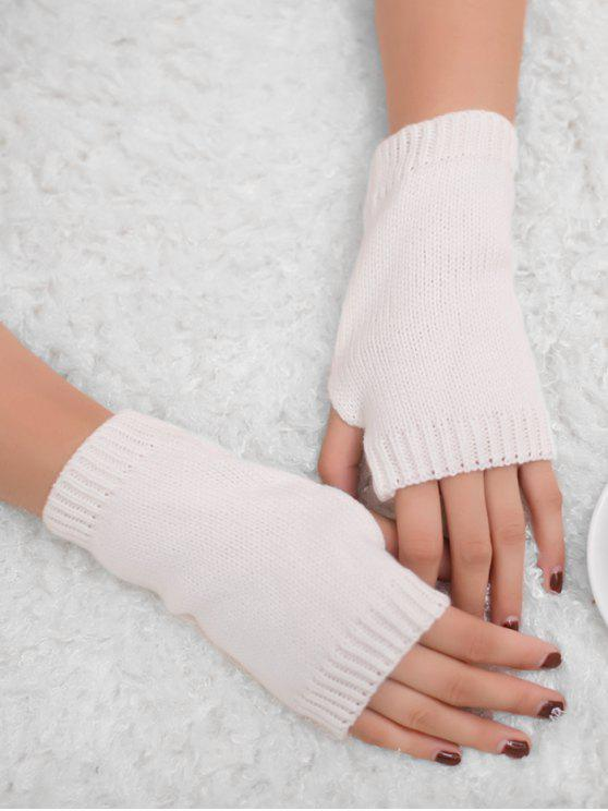 chic Winter Crochet Fingerless Gloves - WHITE