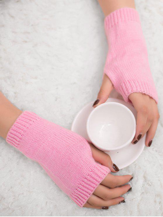 unique Winter Crochet Fingerless Gloves - PINK