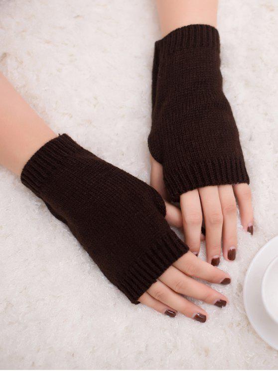 الشتاء الكروشيه قفازات أصابع - قهوة