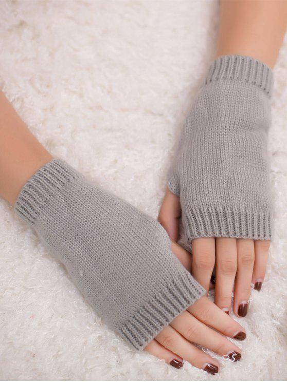 الشتاء الكروشيه قفازات أصابع - رمادي فاتح