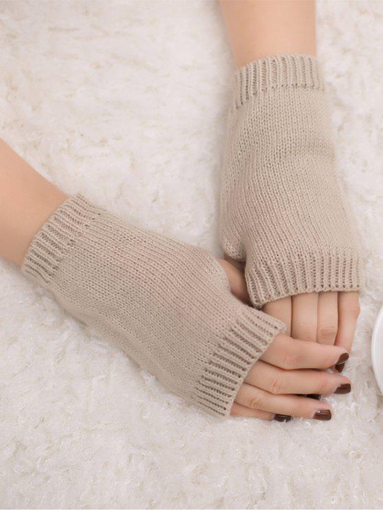 الشتاء الكروشيه قفازات أصابع - اللون البيج