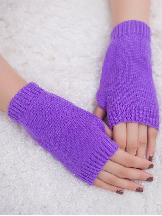 الشتاء الكروشيه قفازات أصابع - أرجواني
