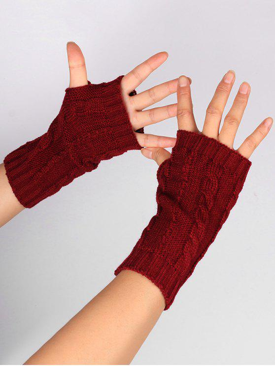 2018 Hollow Out Embellished Knitted Exposed Finger Gloves In Wine
