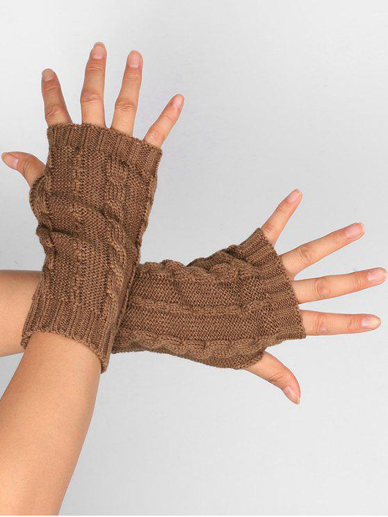 hot Hollow Out Embellished Knitted Exposed Finger Gloves - KHAKI