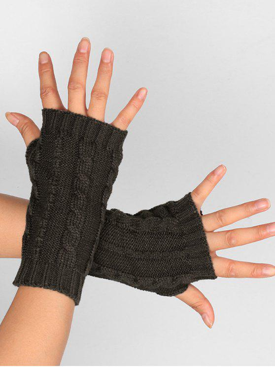 2019 Hollow Out Embellished Knitted Exposed Finger Gloves In Deep