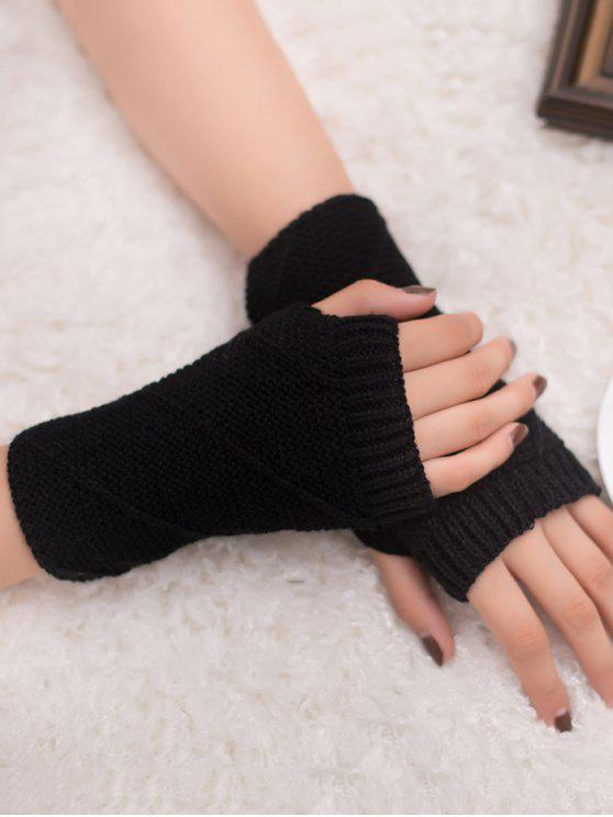 fancy Striped Pattern Fingerless Knit Gloves - BLACK