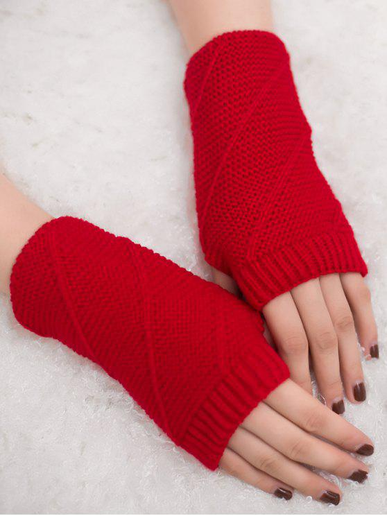 women Striped Pattern Fingerless Knit Gloves - RED