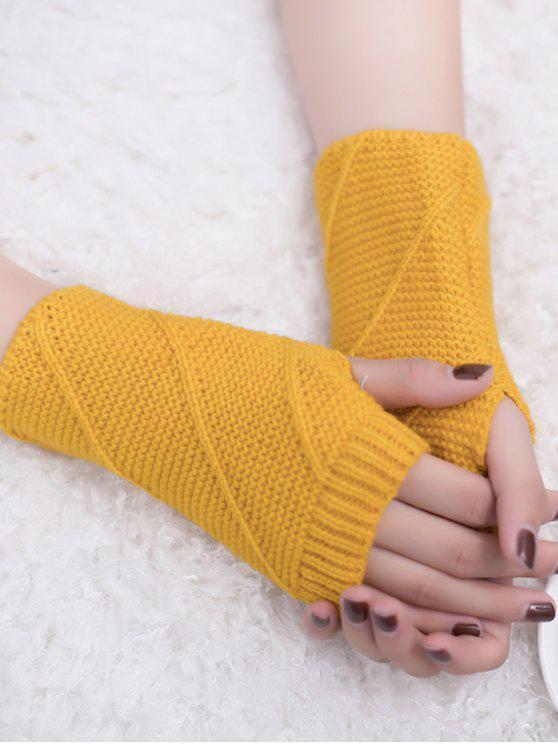 best Striped Pattern Fingerless Knit Gloves - YELLOW