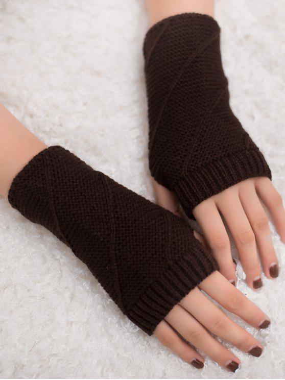 unique Striped Pattern Fingerless Knit Gloves - COFFEE