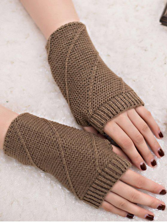 women Striped Pattern Fingerless Knit Gloves - KHAKI