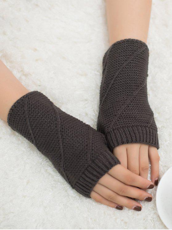Knitting Patterns Striped Gloves : Striped Pattern Fingerless Knit Gloves DEEP GRAY: Scarves & Gloves ZAFUL