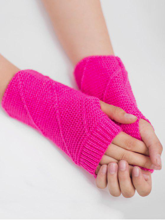chic Striped Pattern Fingerless Knit Gloves - FLUORESCENT ROSE RED