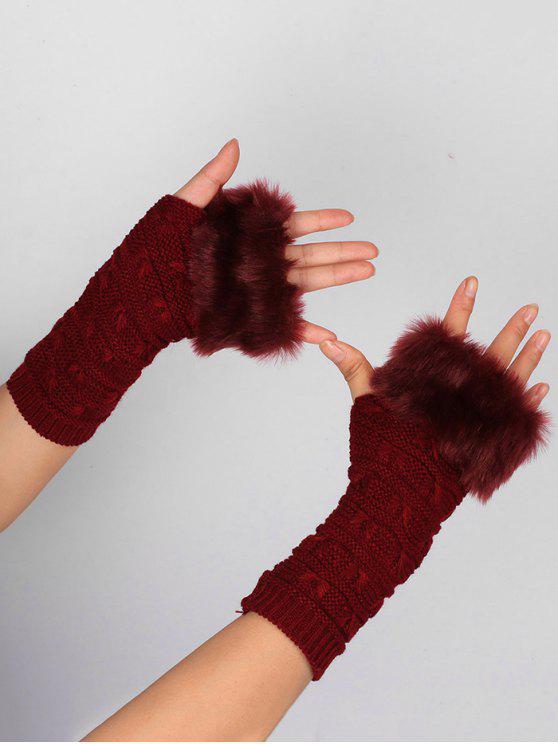لينة الفراء الشتاء الكروشيه محبوك أصابع قفازات - نبيذ أحمر