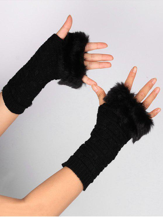 fancy Soft Fur Winter Crochet Knitted Fingerless Gloves - BLACK