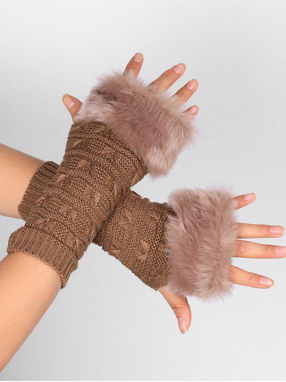 لينة الفراء الشتاء الكروشيه محبوك أصابع قفازات - كاكي