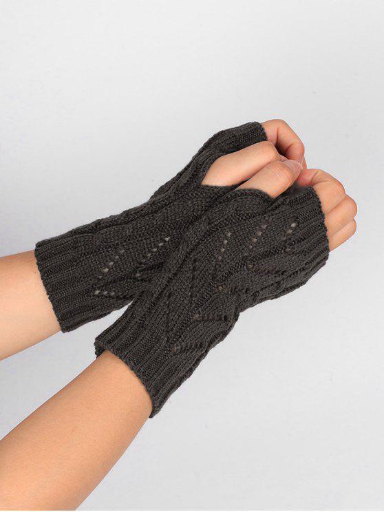 Hollow Out Crochet Guantes Sin Dedos De Punto Gris Oscuro: | ZAFUL