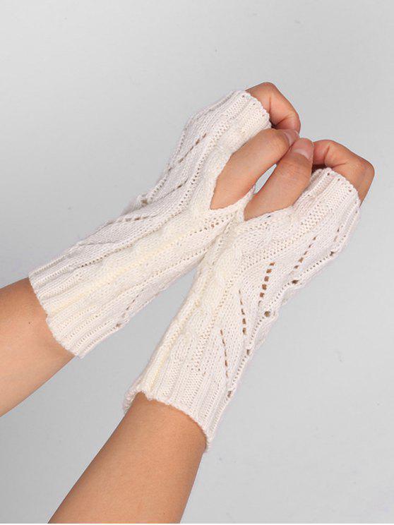 Hollow Out Crochet Guantes Sin Dedos De Punto Blanco:   ZAFUL