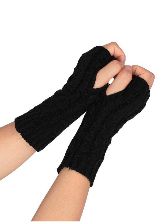 womens Hollow Out Crochet Knitted Fingerless Gloves - BLACK