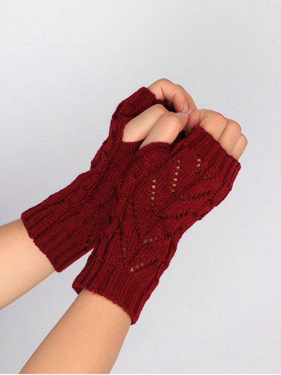 Hollow Out Crochet guantes sin dedos de punto - Vino Rojo