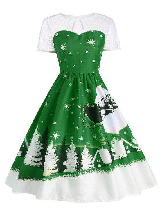 Santa Claus Deer Christmas Vintage Dress GREEN: Print Dresses M | ZAFUL