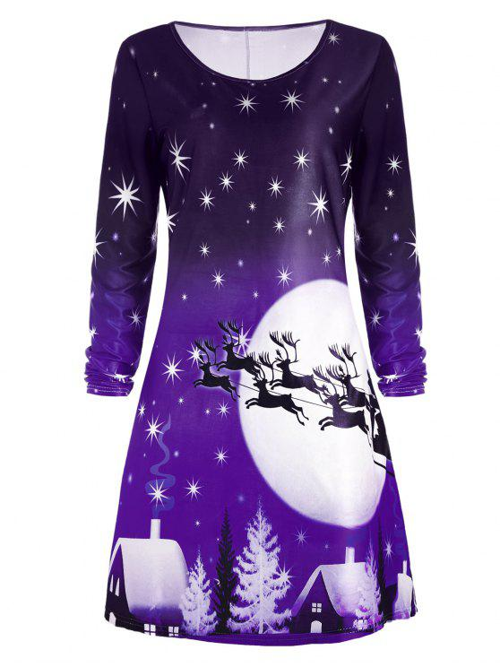 women Christmas Deer Long Sleeve Dress - PURPLE L