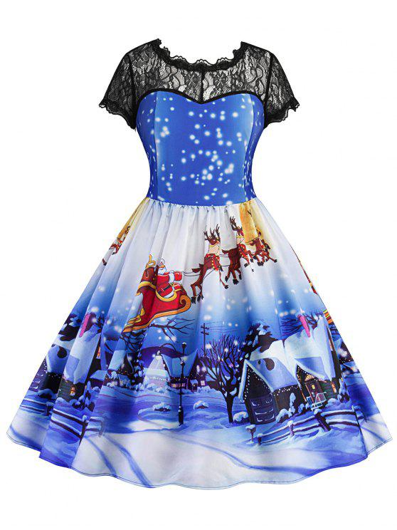 women Christmas Printed Lace Panel Vintage Dress - BLUE M