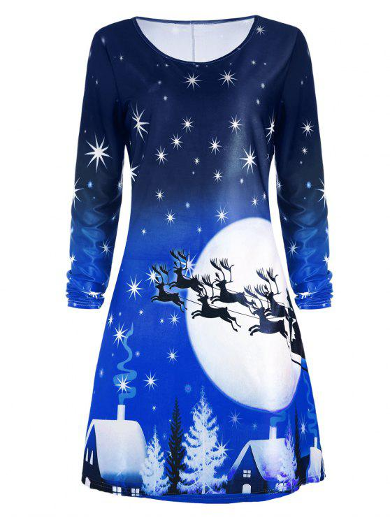 affordable Christmas Deer Long Sleeve Dress - BLUE XL
