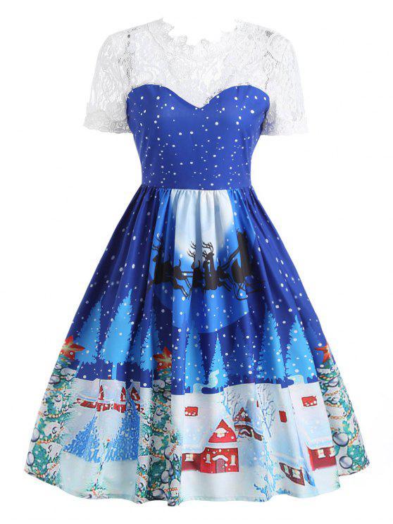 buy Lace Panel Christmas Print 50s Swing Dress - BLUE 2XL
