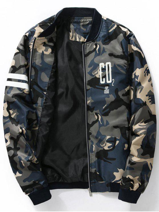 c98aeb77c3c444 32% OFF  2019 Graphic Print Camo Bomber Jacket In CADETBLUE