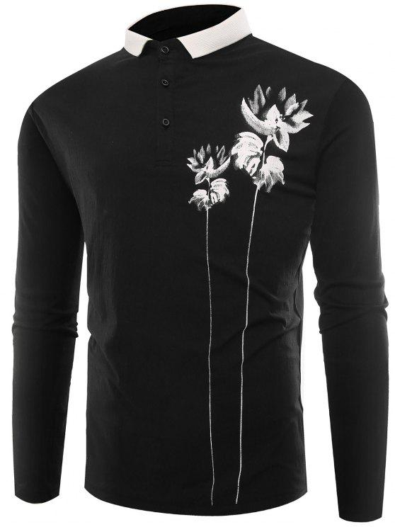 Polo Collar Button Lotus Print T-shirt - Preto L