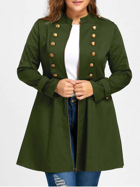 Cappotto Svasato Plus Size Con Doppio Petto - verde  5XL