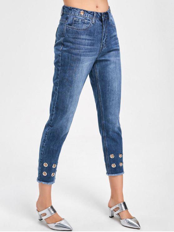 latest Eyelets Decorated Raw Hem Capri Jeans - DENIM BLUE M