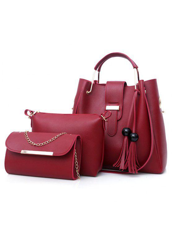 3 قطع حقيبة شرابة توت - أحمر