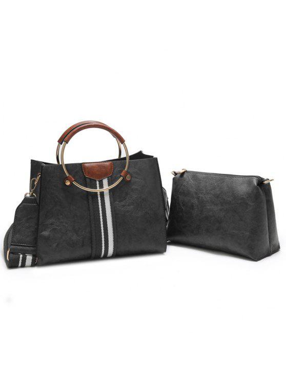 424f6329a8 2018 2 Pieces Striped Handbag Set In BLACK