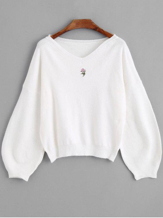 latest Lantern Sleeve Embroidered V Neck Sweater - WHITE ONE SIZE