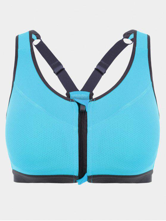 unique Padded Front Zipper Y Back Sports Bra - LAKE BLUE S
