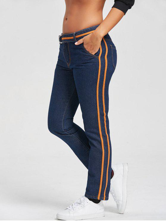 online Contrast Trim Straight Jeans and Belt - BLUE S