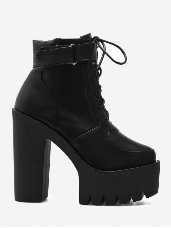 Chunky Heel Platform Ankle Boots BLACK: Boots 37 | ZAFUL