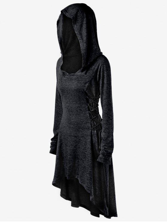 هوديي الحجم الكبير رباط - أسود 3XL