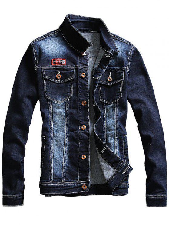 85e0be23b3 63% OFF  2019 Chest Pocket Faded Denim Jacket In PURPLISH BLUE