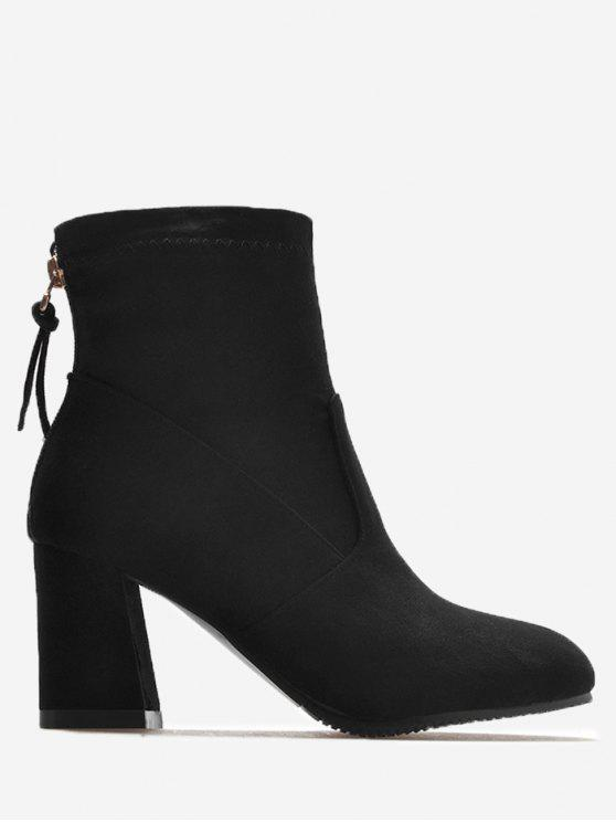 best Block Heel Pointed Toe Ankle Boots - BLACK 37