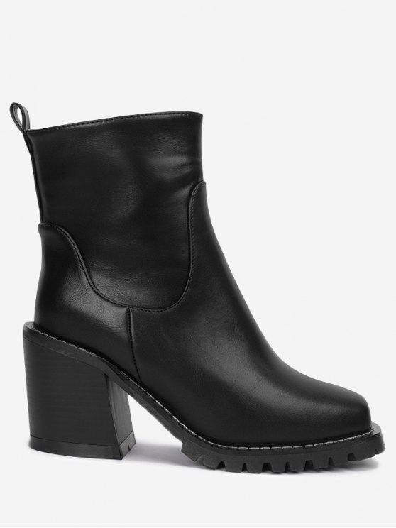 662c1a8b4c1a 40% OFF  2019 Block Heel Square Toe Ankle Boots In BLACK