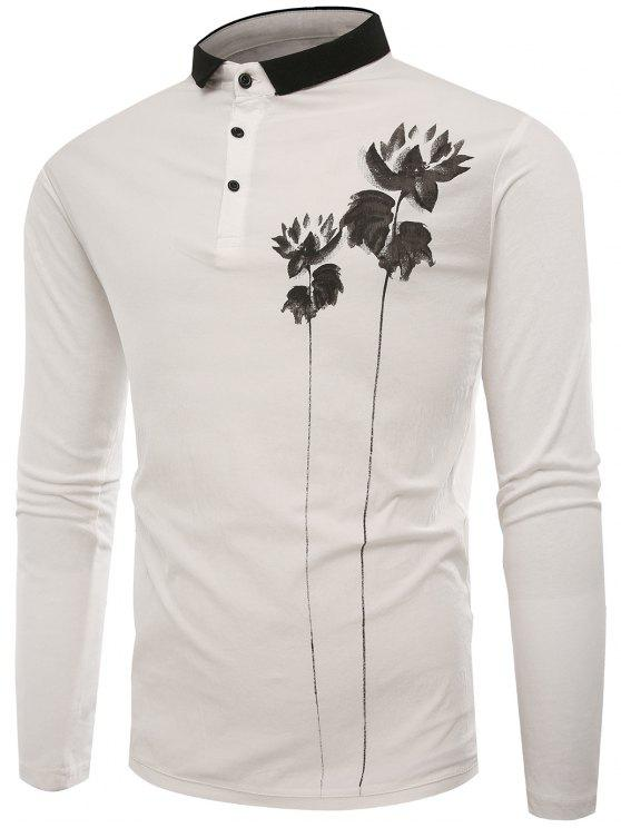 Polo Collar Button Lotus Print T-shirt - Branco 2XL