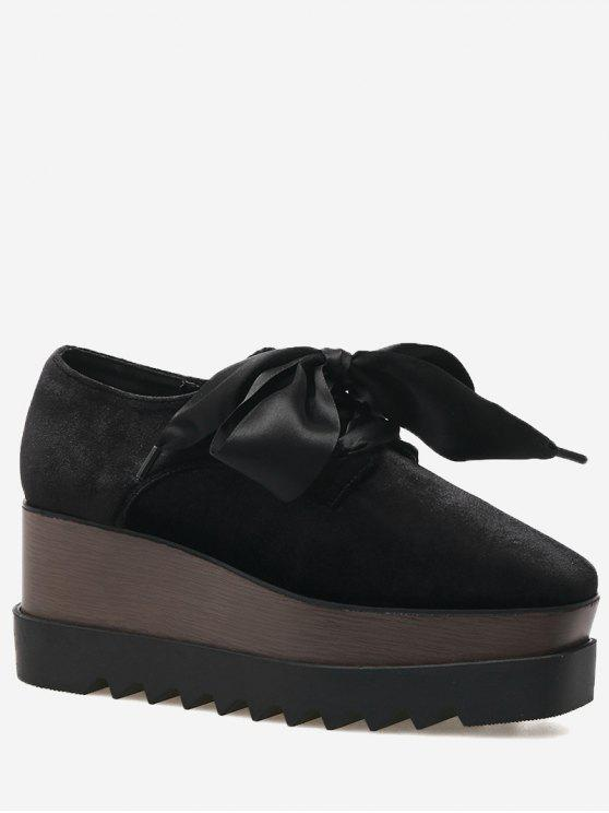 Square Toe Lace Up Wedge Shoes - Preto 37