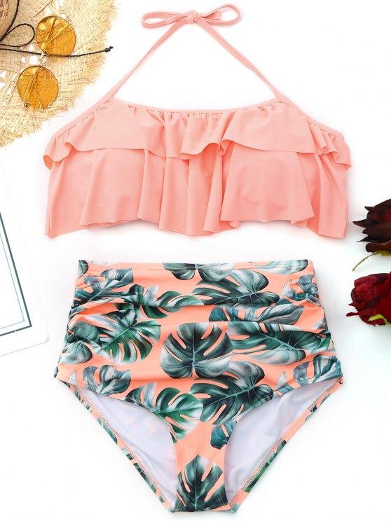 Bikini taille haute à volants en palmier - ROSE PÂLE XL