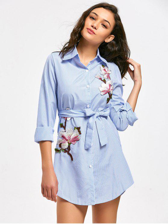 women's Floral Patched Belted Striped Shirt Dress - LIGHT BLUE S